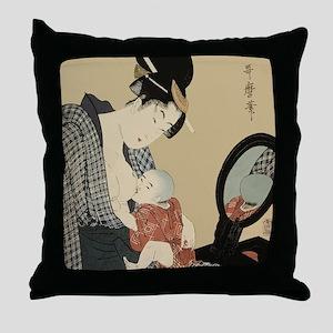 Kitagawa Utamaro - Mother and Child - Throw Pillow