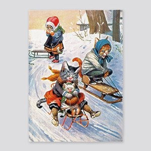 Thiele Cats Sled 2 5'x7'Area Rug