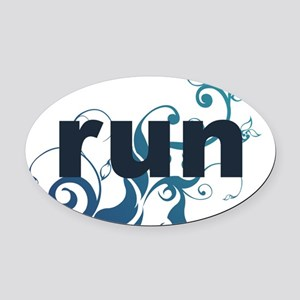 runblue_sticker Oval Car Magnet