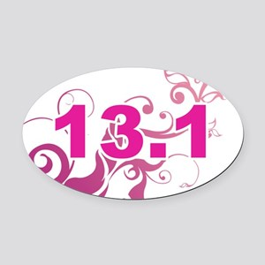 13.1_sticker_pink Oval Car Magnet