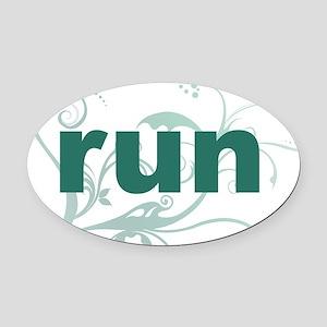 run_green_sticker Oval Car Magnet
