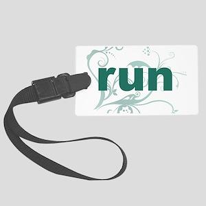 run_green_sticker Large Luggage Tag