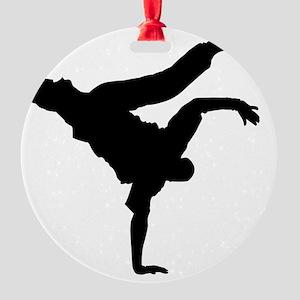 Break pose blk Round Ornament