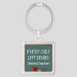 Retired Teacher Square Keychain