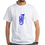 Woodcut Blue Tuba White T-Shirt