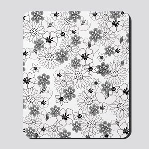 Black and White Floral Mousepad