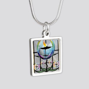 Unitarian 3 Silver Square Necklace