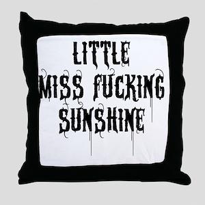 Little Miss Sunshine (Black Letter) Throw Pillow