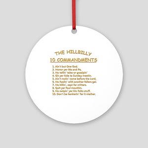 The Hillbilly 10 Commandments Round Ornament