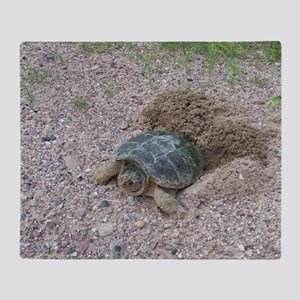 Turtle Laying Eggs on Road Throw Blanket