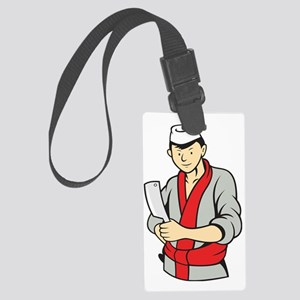 Japanese Butcher Holding Meat Cl Large Luggage Tag