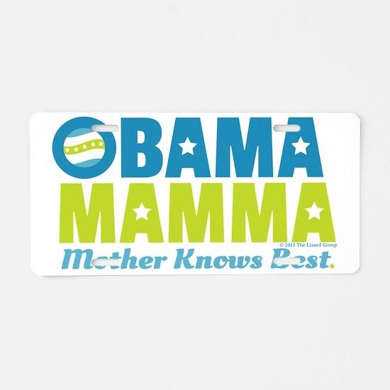 Obama Mamma - Teal/Lime Aluminum License Plate