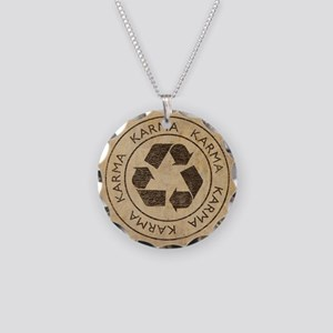 Vintage Karma Necklace Circle Charm