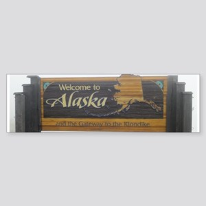 Alaska Welcome Sign Bumper Sticker