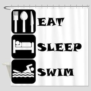 Eat Sleep Swim Shower Curtain