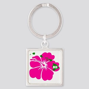 Hawaii Islands  Hibiscus Square Keychain