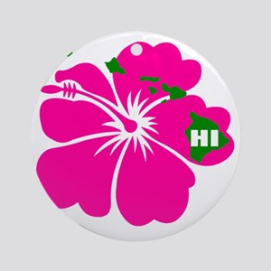 Hawaii Islands  Hibiscus Round Ornament