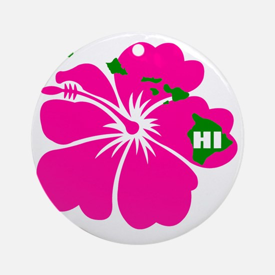 Hawaii Islands  Hibiscus Round Ornament