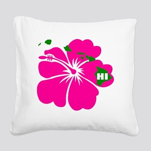 Hawaii Islands  Hibiscus Square Canvas Pillow