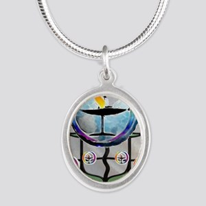 Unitarian 5 Silver Oval Necklace