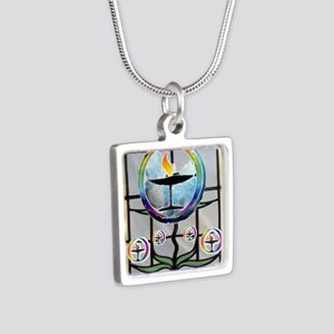 Unitarian 5 Silver Square Necklace