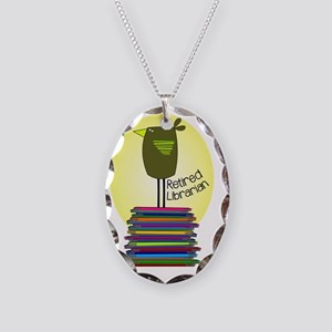 retired librarian BOOK BIRD 2 Necklace Oval Charm