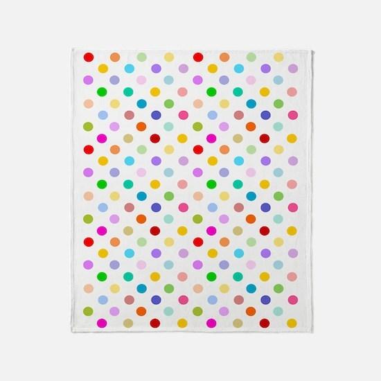 Rainbow Polka Dots Throw Blanket
