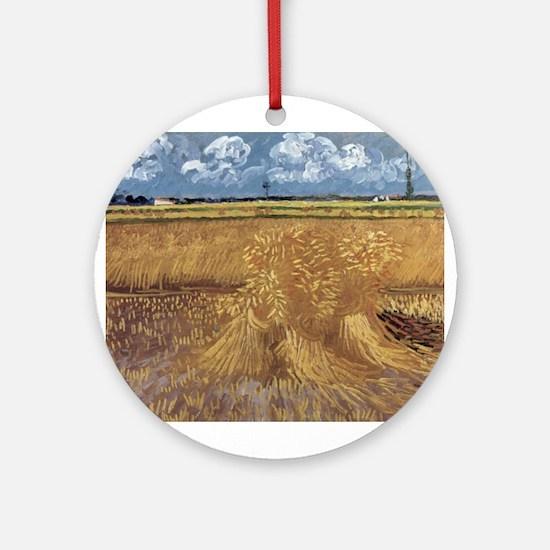 Wheat Field - Van Gogh - c1888 Round Ornament