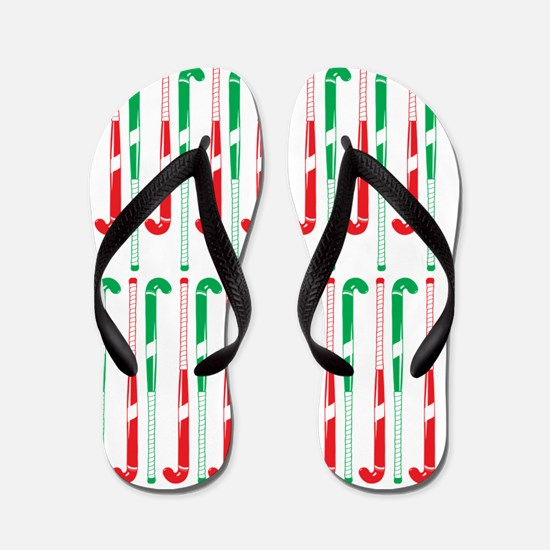 Christmas Colored Field Hockey Sticks Flip Flops