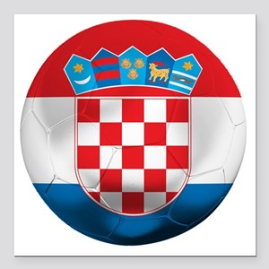 "Croatia Square Car Magnet 3"" x 3"""