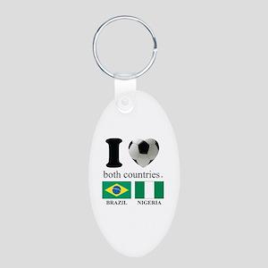 BRAZIL-NIGERIA Aluminum Oval Keychain