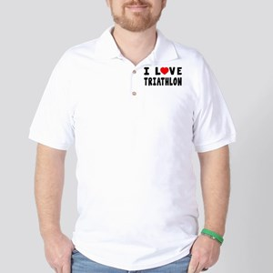 I Love Triathlon Golf Shirt