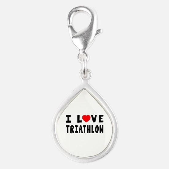 I Love Triathlon Silver Teardrop Charm