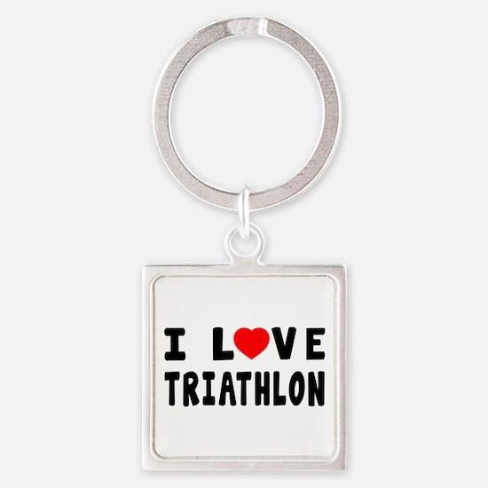 I Love Triathlon Square Keychain