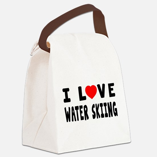 I Love Water Skiing Canvas Lunch Bag