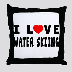 I Love Water Skiing Throw Pillow
