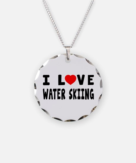 I Love Water Skiing Necklace