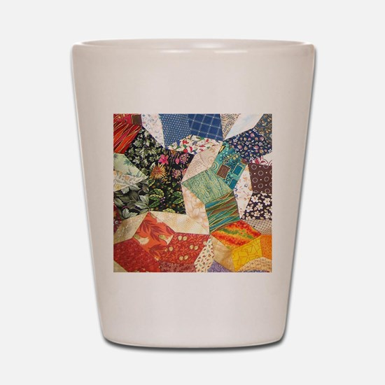 Colorful Patchwork Quilt Shot Glass