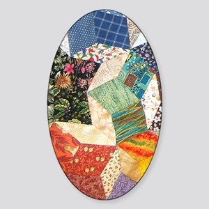 Colorful Patchwork Quilt Sticker (Oval)