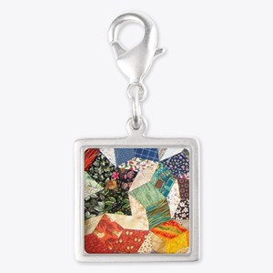 Colorful Patchwork Quilt Silver Square Charm