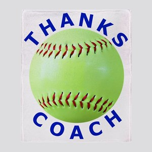 Softball Coach Thank You Unique Gift Throw Blanket