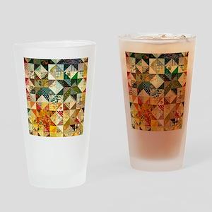 Fun Patchwork Quilt Drinking Glass