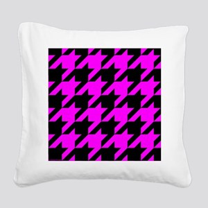 throwpillowpinkhoundstooth Square Canvas Pillow