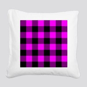 throwpillowpinkcheckered Square Canvas Pillow