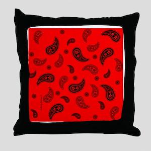 tileboxredpaisley Throw Pillow