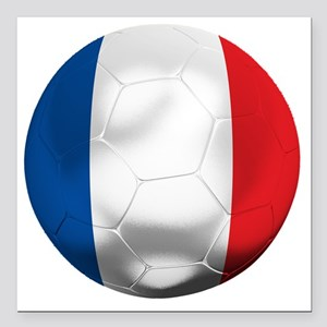 "France Football Square Car Magnet 3"" x 3"""