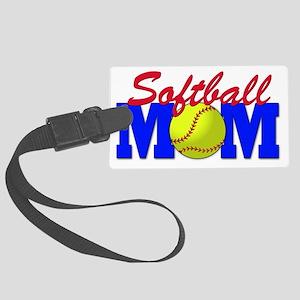 girls softball(blk) Large Luggage Tag