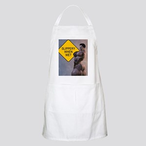 Naked David Slippery When Wet Shower Curtain Apron