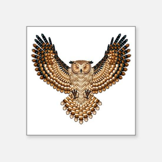 "Beaded Owl Totem Square Sticker 3"" x 3"""