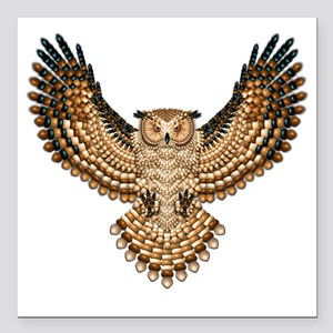 "Beaded Owl Totem Square Car Magnet 3"" x 3"""